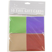 JAM Paper® Gift Tags - Foil Foldover Gift Tag Cards - Green, Purple, Gold & Red - 10 Gift Tags per Pack
