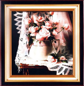 Home Decoration 5D DIY Printed Needlework Sets Counted Cross Stitch Kits Embroidery Kits, Roses in Ceramic Vase