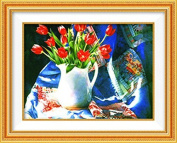 Home Decoration 5D DIY Printed Needlework Sets Counted Cross Stitch Kits Embroidery Kits, Red Tulips in Vase