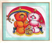 Home Decoration DIY Printed Needlework Sets Counted Cross Stitch Kits Embroidery Kits, Teddy Bears