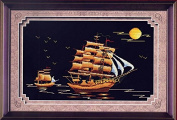 Home Decoration 5D DIY Printed Needlework Sets Counted Cross Stitch Kits Embroidery Kits, Sailing Ship