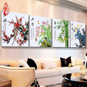 YGS-3 DIY 5D Diamond Mosaic Plum Orchid Bamboo Chrysanthemum flowers Diamond Painting Cross Stitch diamond embroidery Home Decoration 中国制造 钻石画