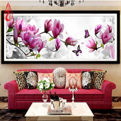 YGS-78 DIY 5D Diamonds Embroidery Butterflies play Magnolia Round Diamond Painting Cross Stitch Kits Diamond Mosaic Home Decoration