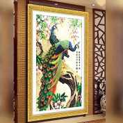 YGS-26 DIY 5D Diamond Painting Cross Stitch Round Diamonds Embroidery Peacock wealth and good fortune Diamond Mosaic Home Decoration 钻石画 刺绣 点钻 十字绣