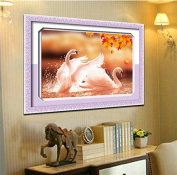 YGS-13 DIY 5D Round Diamond Painting Cross Stitch Kits Autumn Lover Swans Animals Diamonds Embroidery Home Decor Diamond Mosaic 钻石画 刺绣 点钻 十字绣