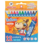 Horse 12 Colours Regular Size Wax Crayons 1 Box
