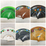 Set of 12 High Quality Vintage Dance Wooden Cut Folding Hand Held Fan with Organza Gift Bag Multi-colours Wedding Party Decor /Spanish Fan/dancing Fan/table Setting /Wall Decoration