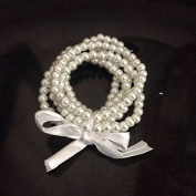 5 Pc Vintage Inspried Ivory /White Faux Pearl Bracelets for Bridesmaid ,Breakfast At Tiffany Party Favour , Wedding, Bridal Party