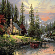 KINGSO DIY Oil Painting Paint By Numbers Kit Art Craft Lakeside House 40*50cm