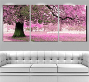 [ Wooden Framed or Not, New Release ] Diy Oil Painting by Numbers 3 Pieces Pack, Paint by Number Kits - Romantic Tree 16*16*3P inches - PBN Kit for Adults Girls Kids Christmas Gifts