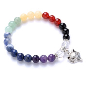 Unisex 8mm Natural Stone Chakra Beads Stretch Bracelet with Tibetan Silver Fox Head Pendant 1pcs