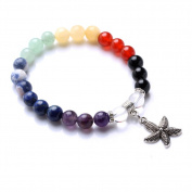 Unisex 8mm Natural Stone Chakra Beads Stretch Bracelet with Tibetan Silver Starfish Pendant 1pcs