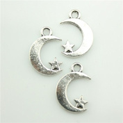 30pcs 17×11mm Moon Star Charms Antique Silver Tone Pendant B10244