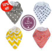 Baby Bandana Drool Bibs by Ztrome with Snaps, Absorbent Adjustable Bib Made of Organic Cotton Unisex 4-Pack, Cute Gift Set, Gift Bag included