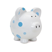 Child to Cherish Large Pig White with Polka Dot Toy Bank, Blue