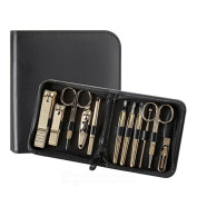 Three Seven 777 Ts-810g Gold Plated Nail Clipper Grooming Kit Set Travel Case