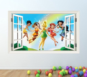 DISNEY FAIRIES FULL COLOUR WALL STICKER - GIRLS BOYS TINKERBELL BEDROOM C208 Size