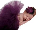 Newborn Baby Girls Photography Prop Purple Headband Tutu Skirt