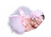Newborn Baby Photo Prop Girl Pink Flower Headband Cranberry Tutu Skirt