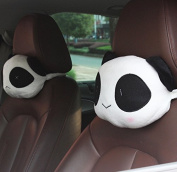 Calcifer 2Pcs Cute Cartoon Car Panda Pillow Headrest Plush Neck Rest Pillow