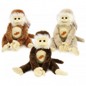 Plush Monkey with Sound And hook and loop Hands. 38 cm Beige