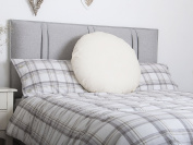 Lancashire Rose Back Support Round Circle Polycotton Hollowfibre Pillow - Pillow with Cream Cover