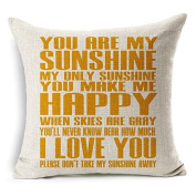 "Heartybay Home Decorative ""You are my sunshine"" Printing Cotton Linen Throw Pillow Cover Cushion Case 46cm x 46cm"