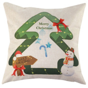 Jtartstore Christmas Tree Beautifully decorated indoor bed sofa cotton linen 46cm X 46cm pillow a597