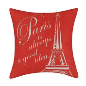 Jtartstore Eiffel Tower (Red) Beautifully decorated indoor bed sofa cotton linen 46cm X 46cm pillow a632