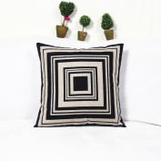 White and black Series blend linen Home Decorative Throw Pillow Cover Cushion Case for Sofa 18-Inch