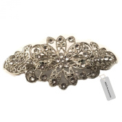 RASS Accessories Antique Filigree Silver Flower Crystal Barrette Large Bridal Hair Clip Victorian