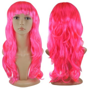 Jazooli Womens Ladies Long Curly Wavy Fancy Dress Full Hair Clip Wig Costume Party - Pink