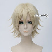 Light Blonde 30CM Layered Short Full Hair Anime Basic Party Cosplay Wig + Cap
