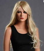 Beauty Smooth Hair Women's Long Blonde Curly Wavy Full Wigs Party Hair Cosplay Wig NW01