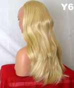 WIG FASHION 60cm Ladies 3/4 Half Fall Wig - Sexy Long Straight Layered Flick Style - GOLDEN BLONDE #26/88 - Heat Resistant Synthetic - Clip In Hair Piece Women Extension Y6