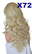 WIG FASHION 70cm Ladies 3/4 Half Fall Wig - Sexy Long Layered Curly Wavy Style - MAX BLONDE - Heat Resistant Synthetic - Clip In Hair Piece Women Extension X72