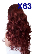 WIG FASHION 70cm Ladies 3/4 Half Fall Wig - Sexy Long Layered Curly Wavy Style - DARK COPPER - Heat Resistant Synthetic - Clip In Hair Piece Women Extension X63
