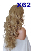 WIG FASHION 70cm Ladies 3/4 Half Fall Wig - Sexy Long Layered Curly Wavy Style - LIGHT HONEY - Heat Resistant Synthetic - Clip In Hair Piece Women Extension X62