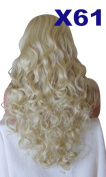 WIG FASHION 70cm Ladies 3/4 Half Fall Wig - Sexy Long Layered Curly Wavy Style - BABY BLONDE - Heat Resistant Synthetic - Clip In Hair Piece Women Extension X61