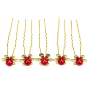 5 Pcs Women Girls Red Faux Pearl Flower Hair Pins Clips Decor for Wedding Party
