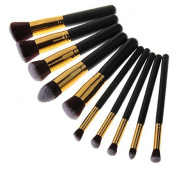 Butterme 10 Pcs Premium Synthetic Kabuki Makeup Brush Set Cosmetics Foundation Blending Blush Eyeliner Lip Face Powder Brush Makeup Brush Kit