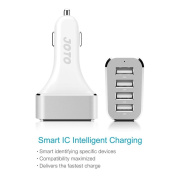 [ USB Car Charger ] JOTO 4 Ports USB Car Charger High Speed Charge (9.6A/48W) with Smart IC Intelligent Charging - Portable USB Car Charger compatible to Apple and Android devices (iPhone 6, 6 Plus, iPad Air 2,Samsung Galaxy, Nokia, Motorola, HTC, LG, ..