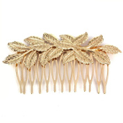 Koly Women's Punk Golden Leaf Hair Comb Hair Clip Jewellery Hair Accessories