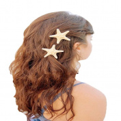 Koly Women's Lady Girls 2Pcs Pretty Natural Starfish Sea Star Hair Clip