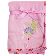 Lullaby Dreams Micromink Embroidered Cuddle Rug Pink