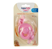Happy Baby Latex Cherry Soother 0-3m 3 Pack Pink