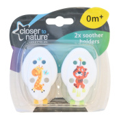 Closer To Nature Soother Holder 2 Pack White