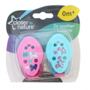 Closer to Nature Soother Holder Pink 2 Pack