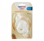 Happy Baby Latex Cherry Soother 0-3m 3 Pack White