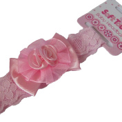 B03 Pink LACE BOW Baby Headband by Soft Touch Suitable for Christening